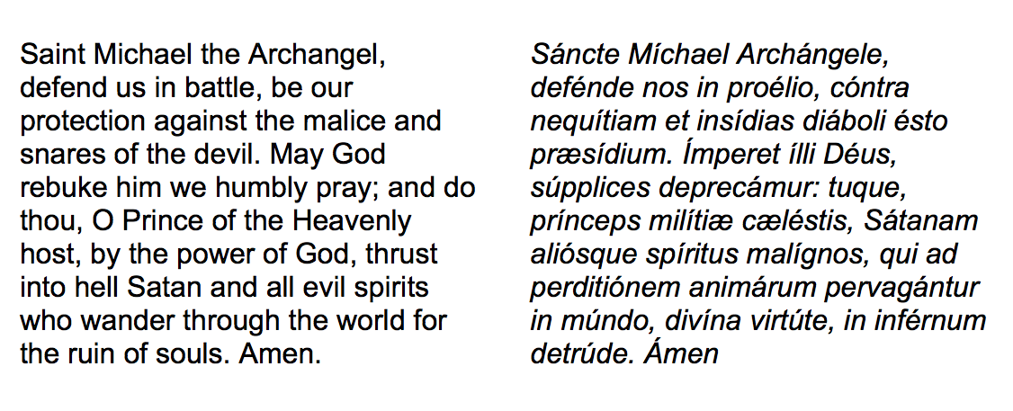 saint michael prayer in latin