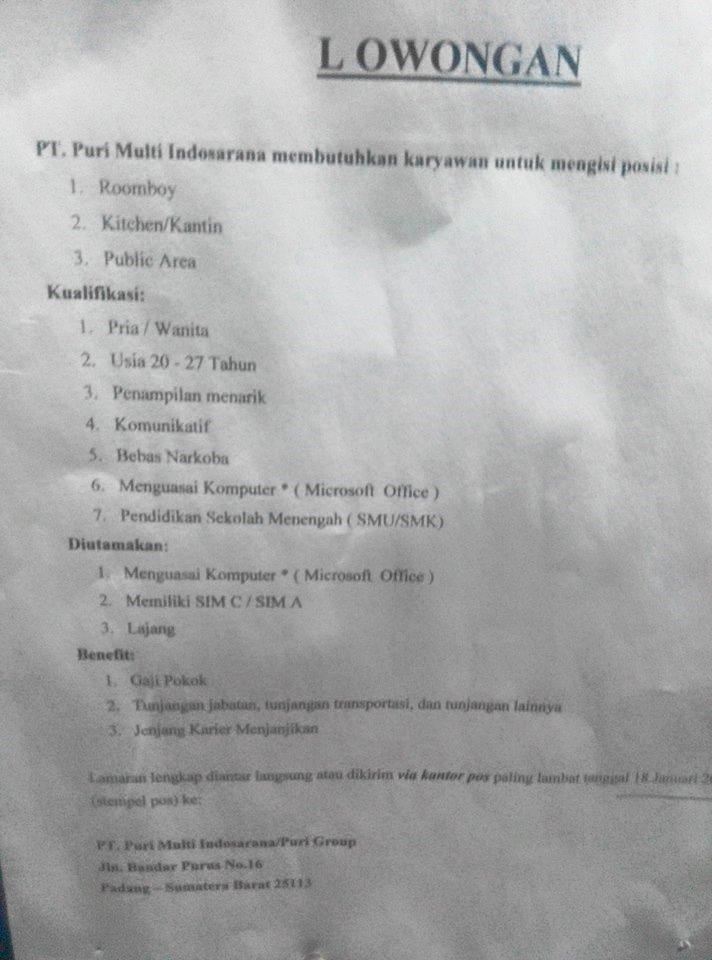 Lowongan Kerja di Padang – PT.Puri Multi Indosarana – 3 Posisi