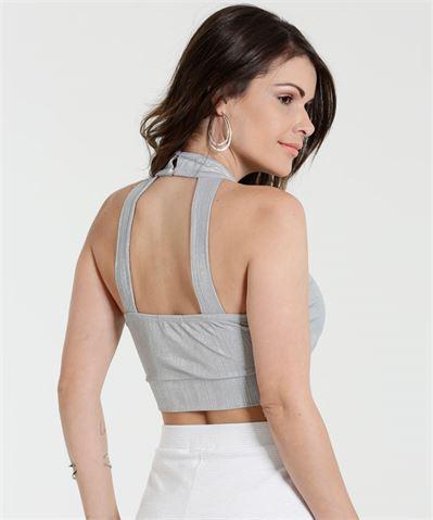 Moda Blusa Feminina Cropped Metalizado Marisa
