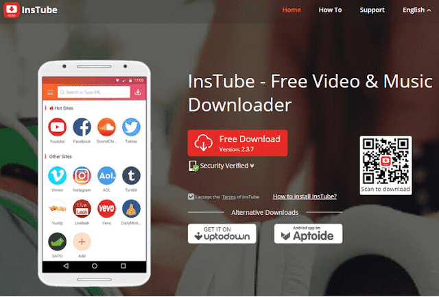 Aplikasi download video dengan InsTube