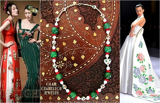 Glam Chameleon Jewelry heart shaped white cloisonne bead green jade necklace
