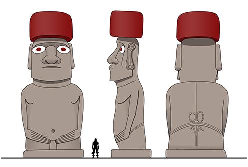 Moai Ahu Tongariki hanga nui isla de pascua plataforma ceremonial altura tipo material drawings dibujo dibujos moais easter island