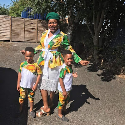 Actress Taiwo Aromokun and her twins step out in matching outfits..
