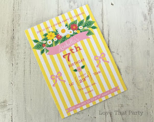 Floral Stripe Invitation Lemon