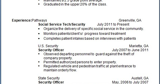 social services technician resume sample