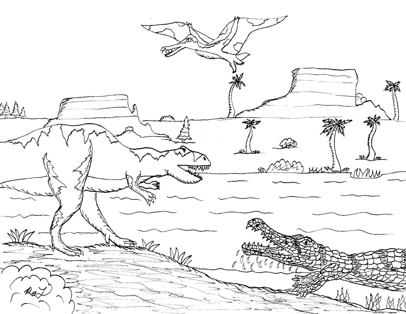 Robin 39 s great coloring pages american alligator and for Carcharodontosaurus coloring page