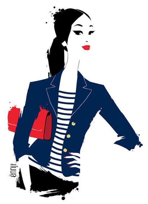 Ennji arte ilustrações fashion singelas minimalistas espaço negativo mulheres modelos