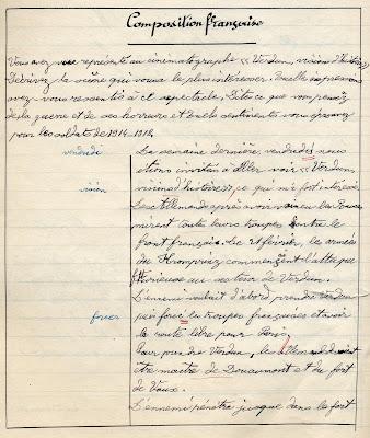 cahier de compositions françaises, école de garçons Schneider et Cie, groupe spécial, élève Jean T., 1928 (collection privée)