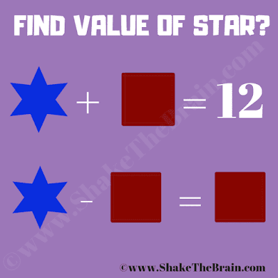 In this Math Equations Riddle with Shapes, your challenge is to find the value of the Star