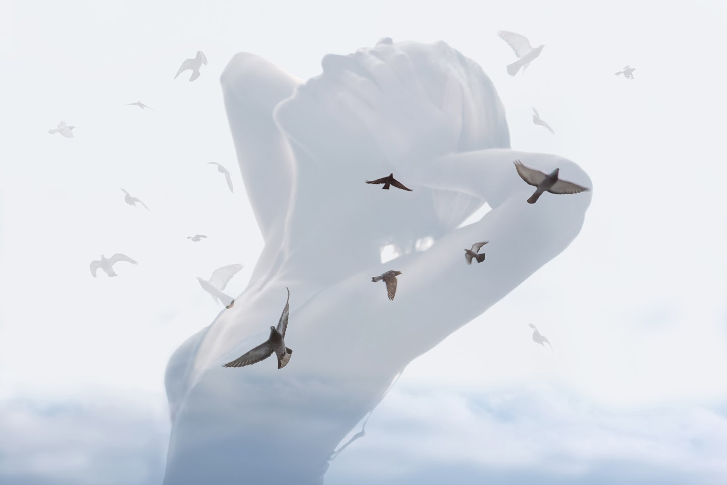 Double and multiple exposure in photography, birds flying, freedom in me, Nina Sinitskaya, double exposure girl, doves flying