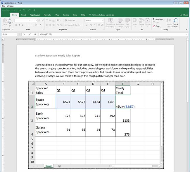 utilizzare qualsiasi formula di Excel in Word