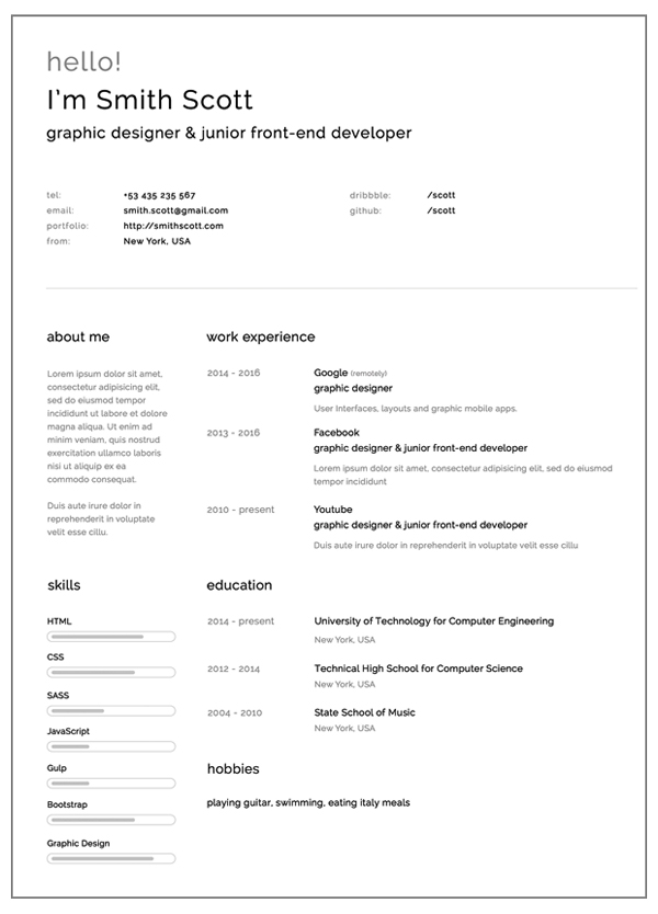 Free Cv Template 114 To 120. Free Download Resume Templates To