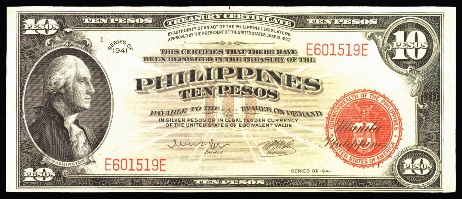 Philippines 10 Peso bill 1941 George Washington