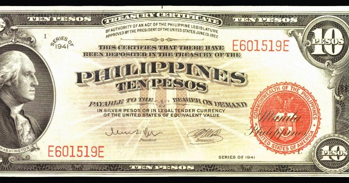 Philippines 10 Pesos Treasury Certificate 1941 George