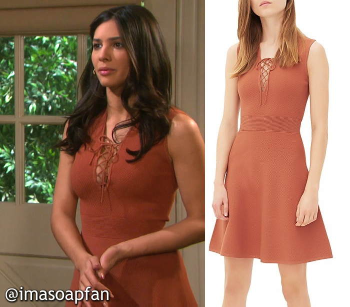 Gabi Hernandez's Terracotta Orange Tie-neck Dress - Days of Our Lives, Season 51, Episode 08/29/16