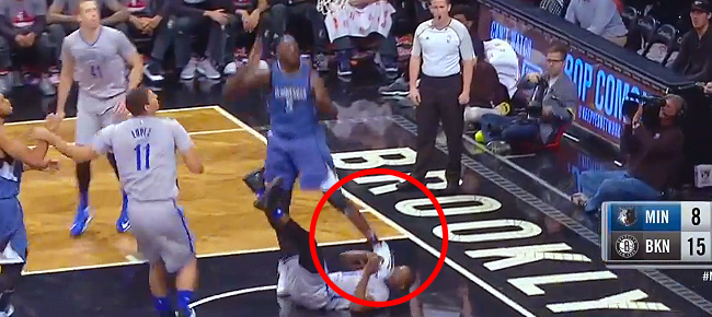 Gorgui Dieng Accidentally Steps on Isaiah Whitehead's Head (VIDEO)