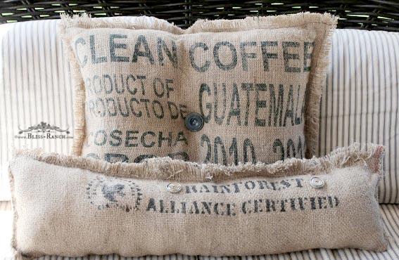 Burlap Coffee Sack Pillows, Bliss-Ranch.com