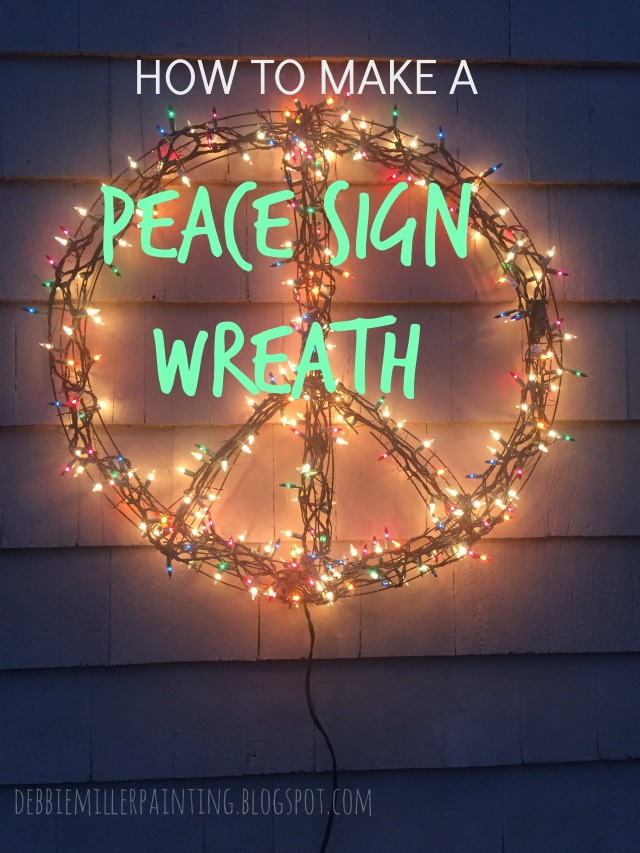 how to make a peace sign wreath, christmas lights peace sign