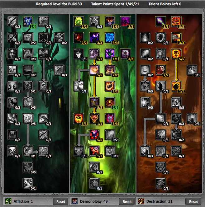 Warlock - Affliction / Demonology 1-80 Leveling Talent Build & Guide