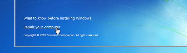 Repair your computer untuk mereset kata sandi windows