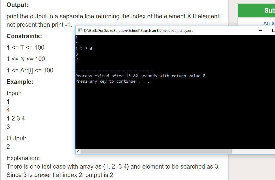 "Geeksforgeeks Solution For "" Search an Element in an array """