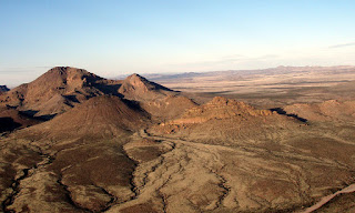 An aerial view of Antelope Pass in the Peloncillo Mountains of southern New Mexico from the west.