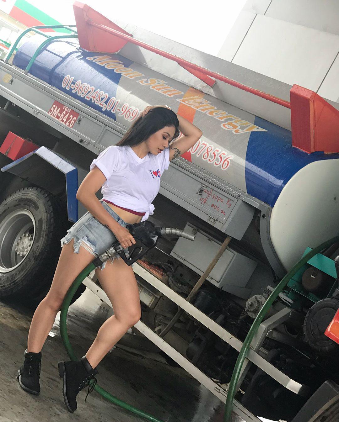 Thinzar Wint Kyaw TVC Photoshoot in Short Jean Pants
