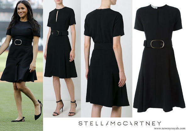 Meghan Markle wore Stella McCartney Belted Keyhole Detail Dress