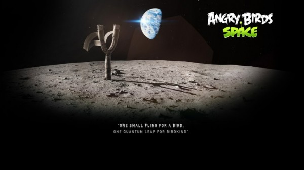 Angry Birds Space Moon Slingshot Desktop Wallpaper