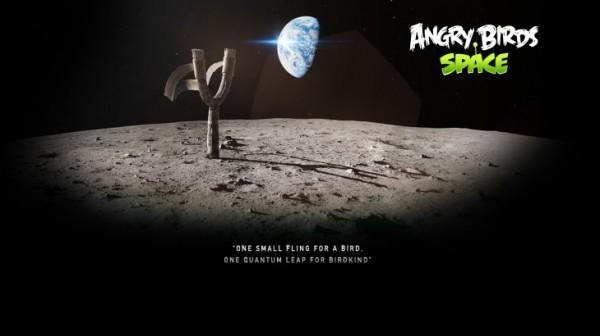 Angry Birds Space Moon Slingshot Desktop Wallpaper