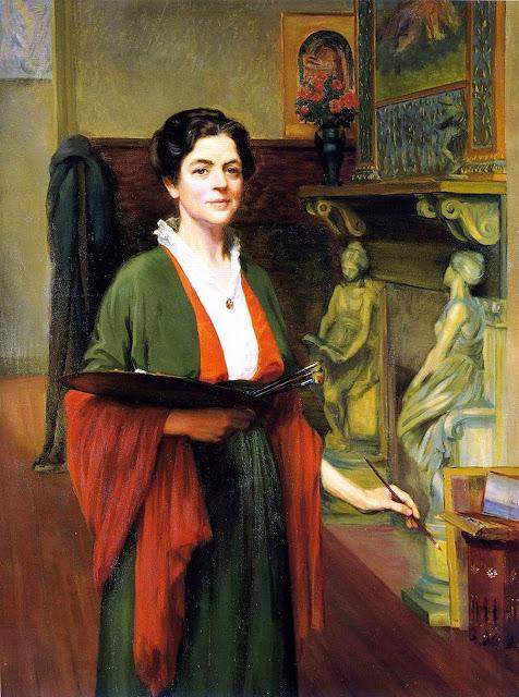 Margaret White Lesley Bush-Brown, Self Portrait, Portraits of Painters, Fine arts, Margaret White Lesley, Portraits of painters blog, Paintings of Margaret White Lesley, Painter Margaret White Lesley