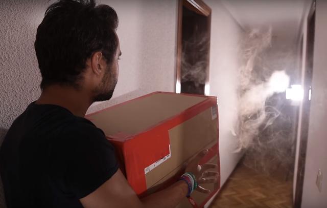 disparar, humo, caja, carton, juguete, casero