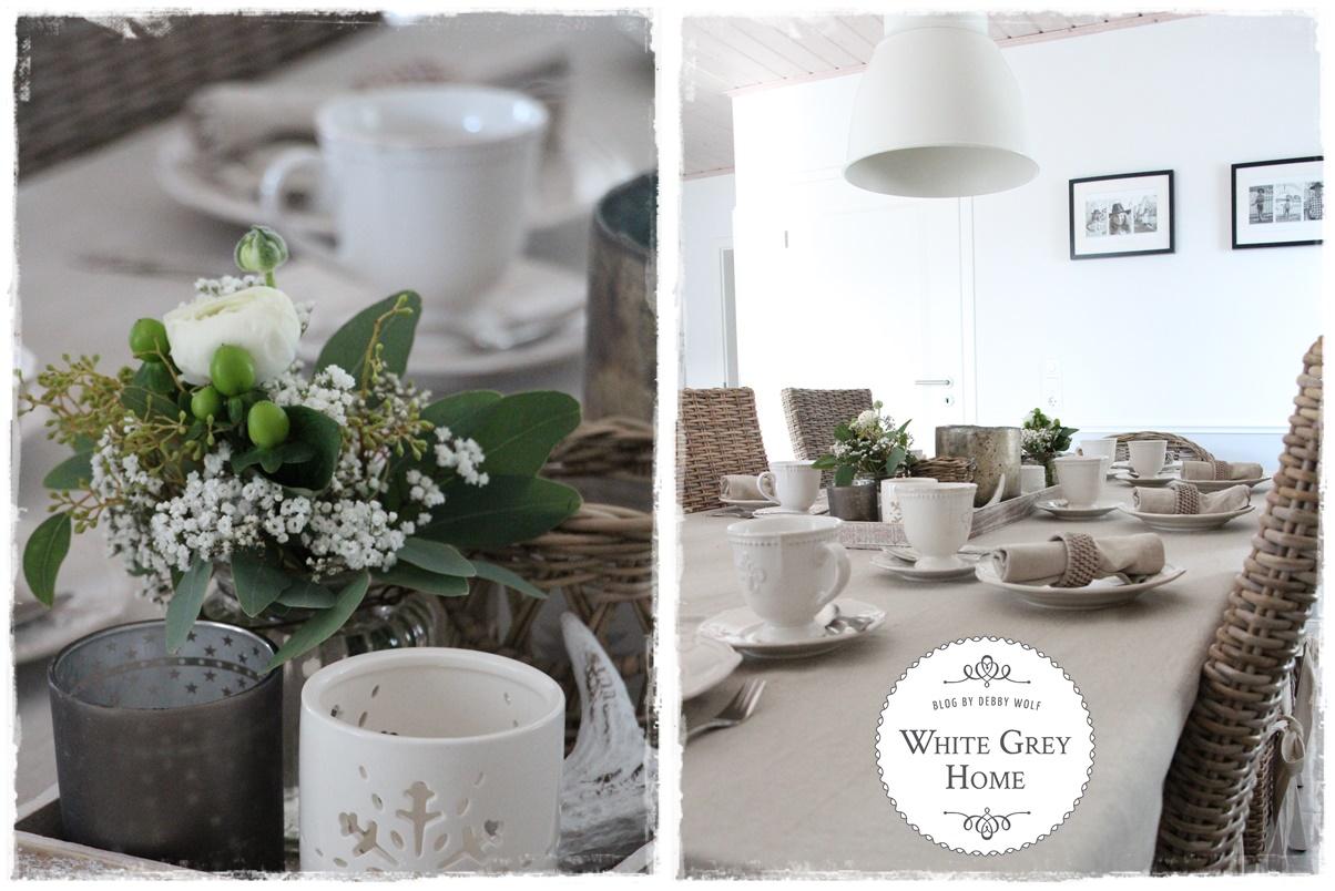 White Grey Home Tischdeko Im Winter