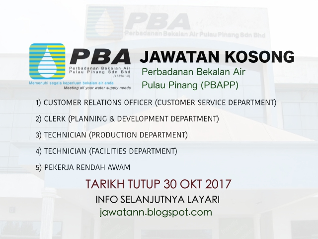 Jawatan Kosong Perbadanan Bekalan Air Pulau Pinang (PBAPP) Oktober 2017