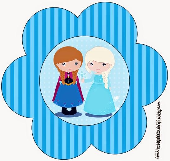 Tarjeta con forma de Flor de Frozen Niñas para Navidad Azul.