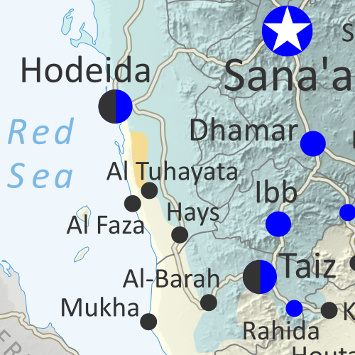 Map of what is happening in Yemen as of December 6, 2018, including territorial control for the unrecognized Houthi government and former president Saleh's forces, president-in-exile Hadi and his allies in the Saudi-led coalition and Southern Movement, Al Qaeda in the Arabian Peninsula (AQAP), and the so-called Islamic State (ISIS/ISIL). Includes recent locations of fighting, including Hodeida, Malahith, Baqim, and more. Colorblind accessible.
