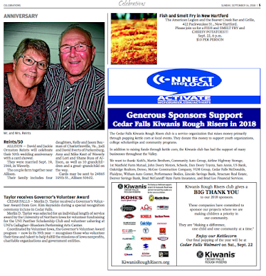 Tear page shows the thank you ad we ran for our 23 sponsors.