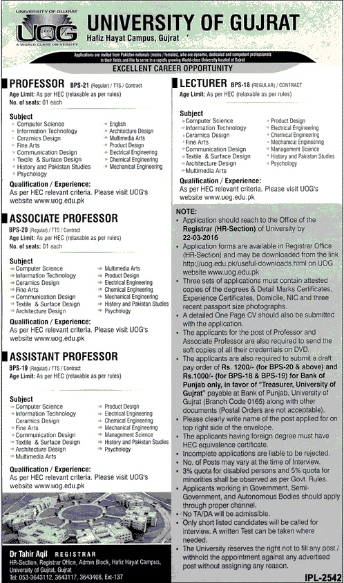 Lecturers Jobs in University of Gujrat