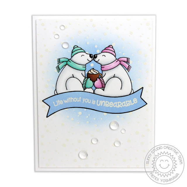 Sunny Studio Stamps Playful Polar Bears Life Without You is Unbearable Card by Mendi Yoshikawa