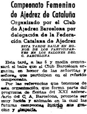 Recorte de prensa sobre el V Campeonato Femenino de Ajedrez de Catalunya 1942, Mundo Deportivo, 20 de diciembre de 1942