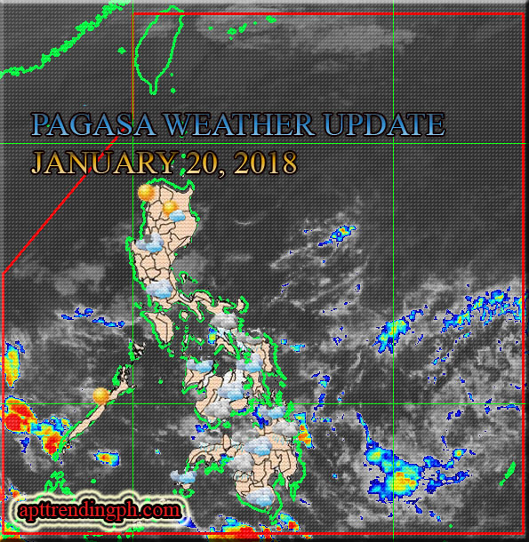 PAGASA: Philippine Weather Image Satellite as of January 20, 2018. (vis HIMAWARI Satellite plus Current Weather Condition map.