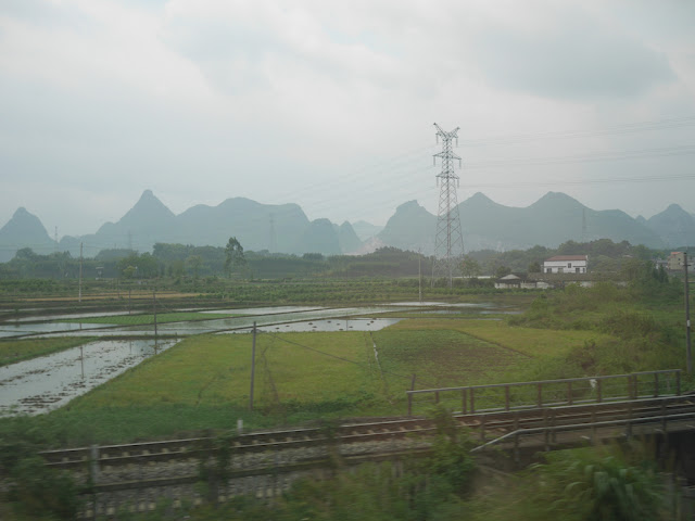 view of mountains from high-speed train