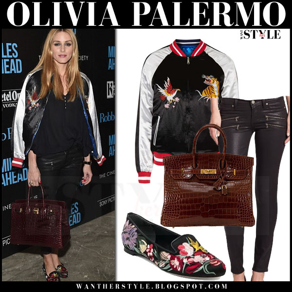 Olivia Palermo in satin bomber topshop jacket, black coated paige edgemont jeans and floral loafers alexander mcqueen what she wore