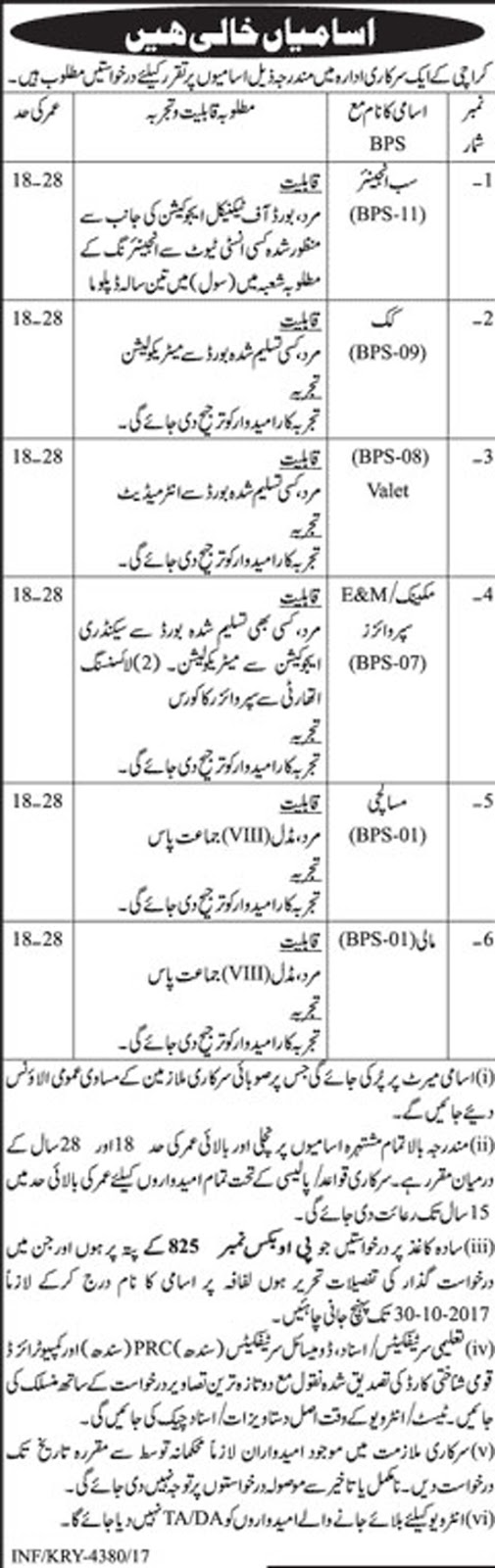 Sub Engineer, Cook, Supervisor, Mali Jobs In Government Department Karachi  Oct 2017