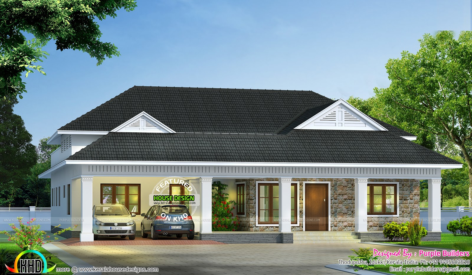 Modern bungalow architecture 2000 sq ft kerala home for New bungalow style homes