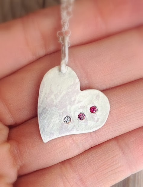 mothers heart  flush set birthstone silver necklace