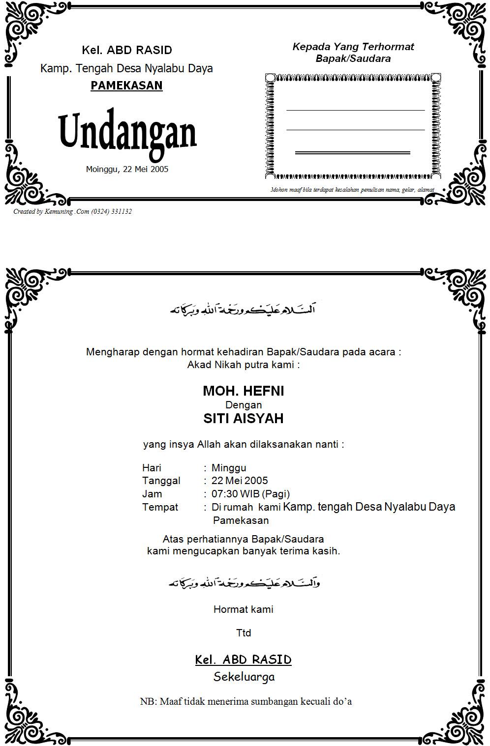 Contoh Format Undangan Pernikahan.doc - Contoh Isi Undangan