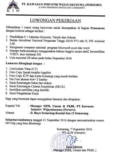 Lowongan Kerja PT Kawasan Industri Wijayakusuma (Persero), Lowongan 21 November 2016