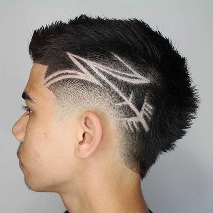 Cortes de cabelo masculino para 2018: riscos e desenhos na cabeça e nuca