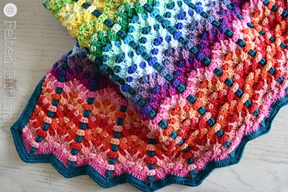 Chromatic Cobbles Blanket Crochet Pattern by Susan Carlson of Felted Button